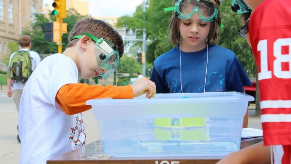 "Students work on solar-powered boats as part of ChemCamp's ""Fun with Chemistry Inventions"" week earlier this summer.  (All photos courtesy Department of Chemistry)"