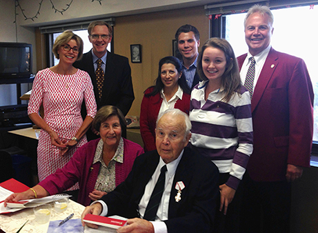 The Madsen Family visited Van Hise Hall in October to celebrate their heritage and commit a gift to the College of Letters & Science. Front (left to right): Renate Madsen, Paul Madsen. Back (left to right): Daughter Karin Drescher, son-in-law Peter Drescher, daughter Nikki Madsen, grandson Thomas Madsen, granddaughter Anna Drescher and son Tom Madsen.