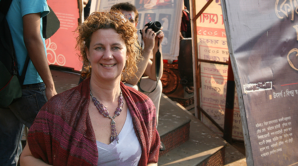 Manon van de Water, shown here at a theatre festival in India, joined the UW-Madison faculty in 1998. She is the Vilas-Phipps Distinguished Achievement Professor of Theatre and Drama and Slavic Languages and Literature. (Photo by Hector Aristizabal)