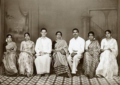 Elder, third from left, with his Tamil-speaking research team in Madurai, India, in 1963. Madurai had been Elder's introduction to India when he traveled there 12 years earlier as part of an Oberlin College program. He had originally applied to teach English in China, but tense relations between the United States and China meant he was sent to southern India instead. (Photo courtesy Elder family)