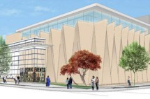 The School of Music performance center will stand at the corner of Lake Street and University Avenue next to the Chazen Museum of Art. The building will contain a 325-seat recital hall and large rehearsal room. (Illustration by Holzman Moss Bottino)