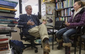 Philosophy Professor Harry Brighouse meets with undergraduate student Linnea Braaten during office hours. Brighouse has written extensively on the moral and ethical responsibilities of university professors as teachers and mentors. (Photo by Sarah Morton, College of Letters & Science)