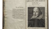 The title page with Droeshout engraving of Shakespeare from the First Folio of Shakespeare. (Photo courtesy Folger Shakespeare Library)