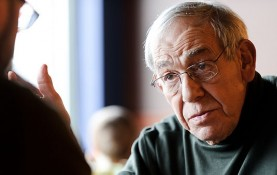 Stanley Kutler is pictured during an interview at a Madison coffee shop in 2011. (Photo by Jeff Miller, University Communications)