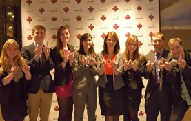 UW-Madison Model UN members celebrate at January's McGill Model United Nations Assembly in Montreal. Club president Allison Perlin (fourth from left) was honored with an outstanding delegate award at the conference. (Photo courtesy UW-Madison Model UN)