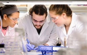 Undergraduates AnaElise Beckman, Michael Zaiken and Alexandra Cohn (left to right) prepare a bacteria culture in a research lab at the Wisconsin Institute for Discovery (WID) in 2013. An estimated 36 percent of UW-Madison undergrads have worked with a professor on some sort of research. (Photo by Jeff Miller, University Communications)