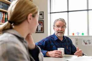 David Brow chats one-on-one over coffee with a student