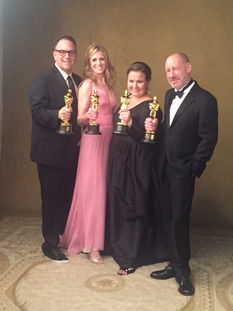 """Spotlight"" producers Michael Sugar, Blye Pagon Faust, Nicole Rocklin and Steve Golin. (Photo courtesy of Nicole Rocklin)"