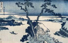 Lake Suwa in Shinano Province. Woodblock color print created by Katsushika Hokusai and part of the online collection of the Brooklyn Museum. Photo from Wikimedia Commons.