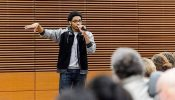 "Deshawn McKinney speaks during a public roundtable discussion titled ""Ferguson in Context: Trauma, Violence, and Citizenship"" held on campus in December 2014. (Photo by Bryce Richter, UW-Madison)"