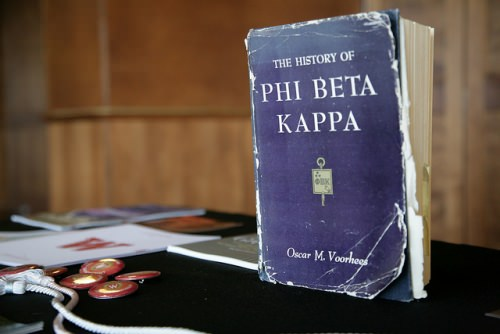 A well-thumbed book of Phi Beta Kappa history welcomes new initiates and their families to the 2016 spring banquet. (Image courtesy of Phi Beta Kappa)
